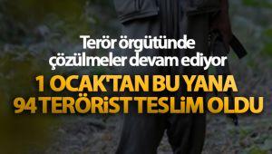 Terör örgütünde çözülmeler devam ediyor! 1 Ocak'tan bu yana 94 terörist teslim oldu